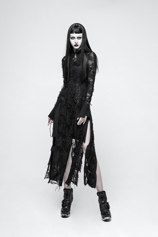 Gothique Punk Dos-nu korsagentop avec Fourrure Cuir Courroie Black Corsage Top